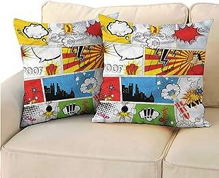 "Godves Pillowcase Superhero Retro Comic Expressions for Sofa Bedroom Car 14""x14"" 2 Pcs"