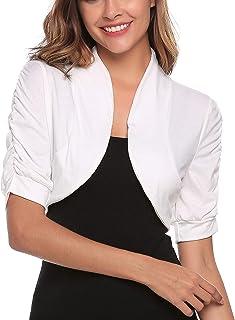 Zeagoo Women Versatile Bolero Shrug Short Sleeve Knitted Open Cropped Cardigan