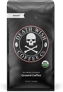 DEATH WISH COFFEE Dark Roast Coffee Grounds [16 oz.] The World's Strongest Coffee, USDA Certified Organic, Fair Trade, Ara...
