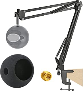 Adjustable Microphone Stand for Blue Snowball and Suspension Boom Scissor Arm Stand with Microphone Pop Filter,Heavy Duty ...