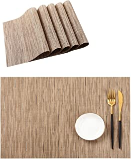 PABUSIOR Placemat, Table Mats Set of 6 Washable, Easy to Clean Non-Slip Woven Vinyl Placemats for Dining Table (12 X 18 Inch Beige)