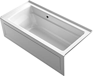 KOHLER K-1948-RAW-0 Archer 66-Inch x 32-Inch Alcove Bath with Bask Heated Surface, Integral Apron, Tile Flange and Right-Hand Drain, White