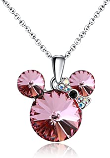 HERAYLI Lucky Mickey Mouse Pendant Necklace for Women/Girls,Made with Swarovski Crystal Necklace Jewelry Gift