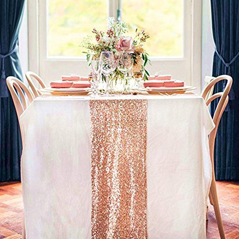 TRLYC 12x108 Inch Rose Gold Sequin Table Runner For Thanksgiving Day Christmas Mathers Day