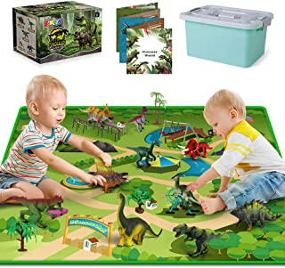 Dinosaur Toys - 12 Realistic Dinosaur Figures, Activity Kids Play Mat & Trees for Creating a Dino World Including T-Rex, T...