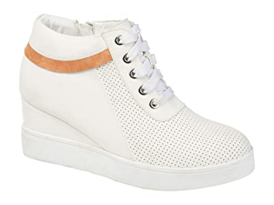 Journee Collection Ayse Sneaker Wedge (White) Women