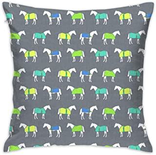 Kids Toddler Pillowcases, Horse Rugs of A Different Color_653 for Living Room, Bedroom, Sofa and Bed 18x18 inch