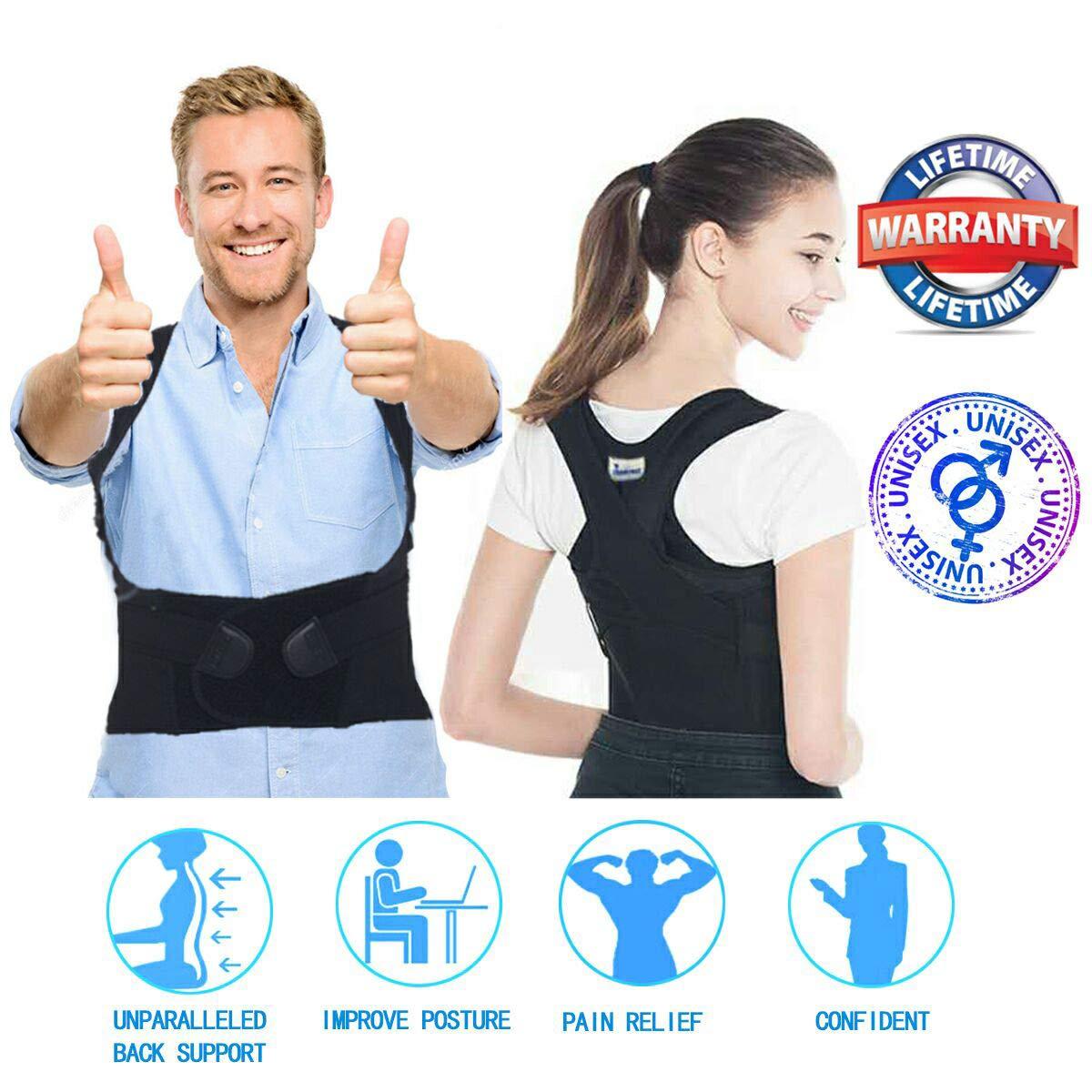 姿勢がブレース女性のメンズボトムス - 姿勢支持ベルト -   - ハイジャンプ姿勢バックサポートブレースを上に調整することができ鎖骨サポートあるKyphosis胸部サポートトレーナー - ザトウクジラ補正ベルト05.posture補正