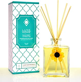Luxe Home Sunkissed Citrus Tea Essential Oil Reed Diffuser | Fresh, Citrus Tea & Honey Scent | Best Gift Idea for The Home | Made in The USA