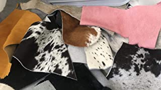 ALM -Cowhide Hair ON Scraps Pink Gray Various Colors | Medium Pieces Random Sizes | 6-7 Square Feet Cowhide Calf Hair-ON Remnants for Crafts, Earrings, Jewelry ONE (1) Pound