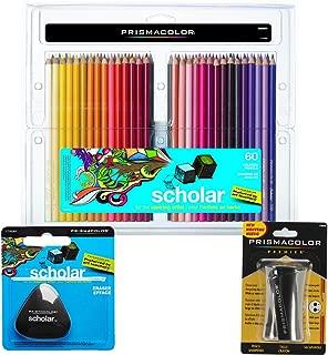 Prismacolor Scholar Colored Pencils 60-Count, Triangular Scholar Pencil Eraser and Premier Pencil Sharpener