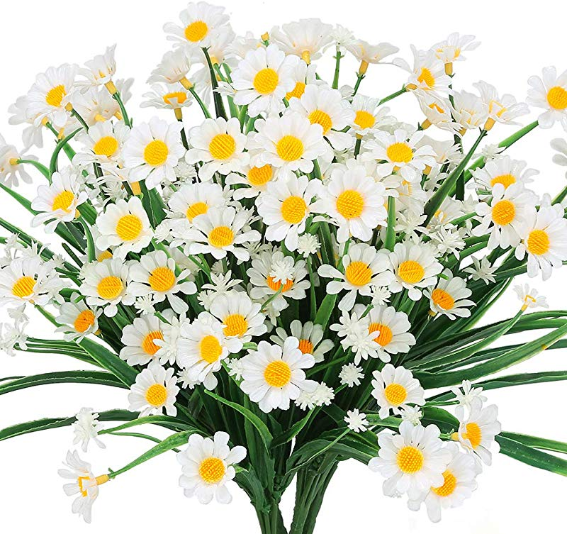 TEMCHY Artificial Daisies Flowers Outdoor UV Resistant 4 Bundles Fake Foliage Greenery Faux Plants Shrubs Plastic Bushes For Window Box Hanging Planter Farmhouse Indoor Outside Decor White