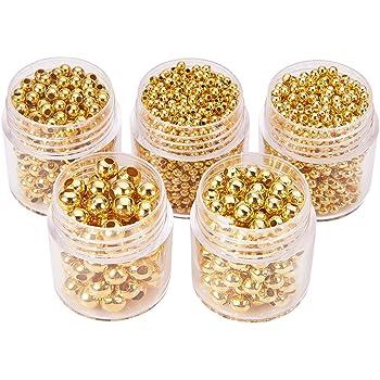 Abalorio rondo hueco de hierro,dorado,2~5mm,agujero:1~2mm