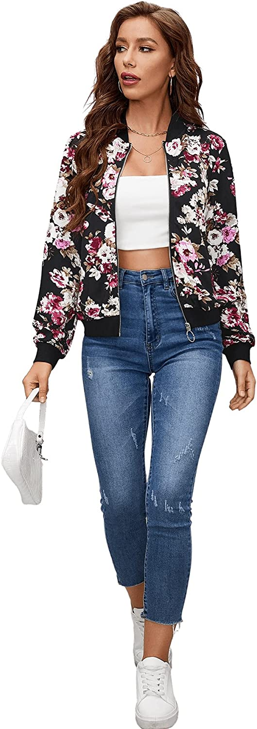 Milumia Women's Floral Print O Ring Zip up Bomber Jacket Lightweight Coat Outerwear
