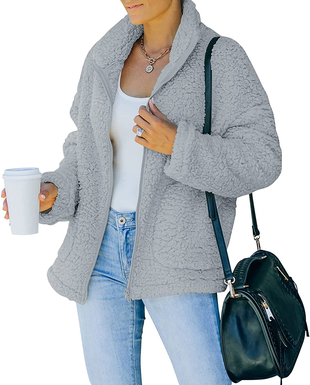 POTANY Outlet Long Beach Mall ☆ Free Shipping Women's Solid Stand Collar Long Full Fl Zip Sherpa Sleeve