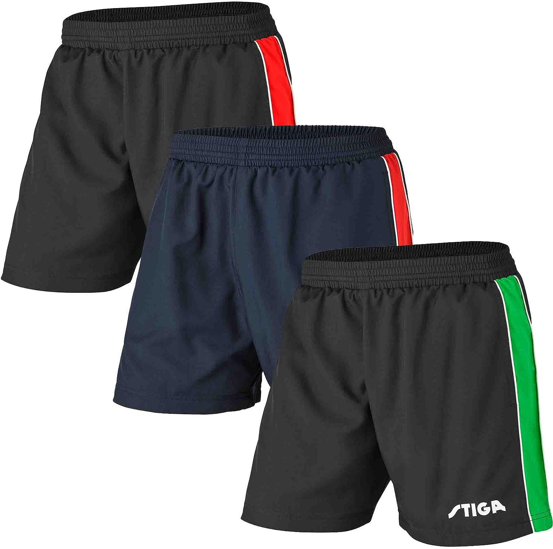Stiga - Pantalones Cortos de Ping Pong (Talla XXS), Color Negro y Rojo