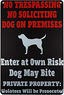 TISOSO Beware of Dog Sign Funny Metal Tin Sign Security Yard Signs Wall House Sign Easy Mount on Fence Gate 12 X 8 Inch