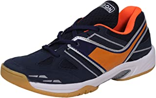 HINDON Badminton Power Grip Shoe Sabarlon PU Non Marking Unisex (Navy/Orange)