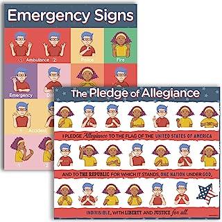 حزمة ملصقات لغة الإشارة الأمريكية - 16 × 20 بوصة ASL التعهد والطوارئ للأطفال