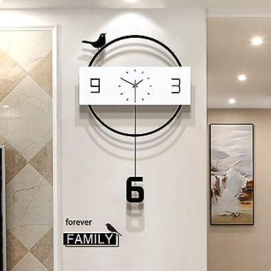 Big Round Large Clocks Wall Decor - Wood Modern Wall Clocks Art for Living Room Kitchen Farmhouse Bedroom,Black Pendulum Batt