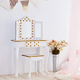Teamson Kids Pretend Play kids Vanity Table and Chair Vanity Set with Mirror Makeup Dressing Table with Drawer Fashion Polka Dot Prints Gisele Play Vanity Set White Gold