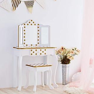 Ensemble Coiffeuse et Tabouret Blanc Or avec Miroir pour Enfant Teamson TD-11670M