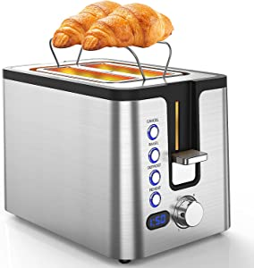 Toaster 2 Slice, 2 Slice Toasters Best Rated Prime with LED Display, Heating Rack, Reheat/ Defrost/ Bagel/ Cancel, 6 Optional Browning Dials, Classic Toaster Stainless Silver