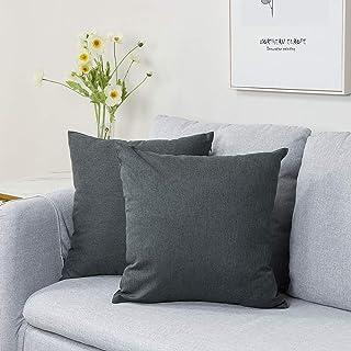 Artscope Juego de 2 fundas de cojín decorativas de 45 x 45 cm, poliéster impermeable, funda de cojín decorativa, juego para sofá, coche, dormitorio, hogar (gris oscuro)