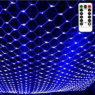 Outdoor Blue Net Light Battery Operated Waterproof, 8 Lighting Modes,Remote Control,Timer,Dimmable,Mesh Curtain Light Stri...