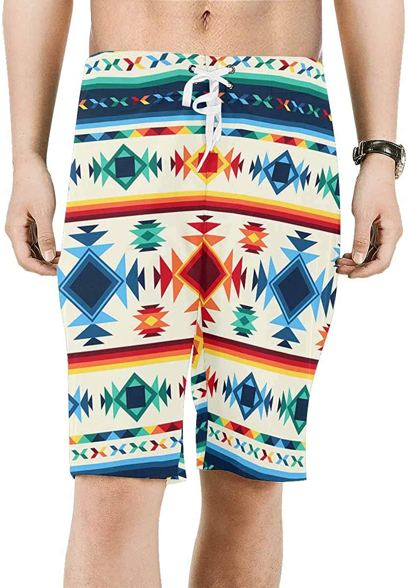 InterestPrint Men's Printed Board Shorts Loose Fit Quick Dry No Mesh Lining