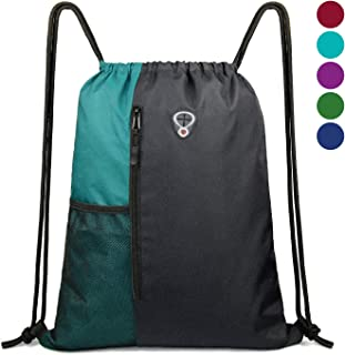 Drawstring Backpack Sports Gym Bag for Women Men Children Large Size with Zipper and..