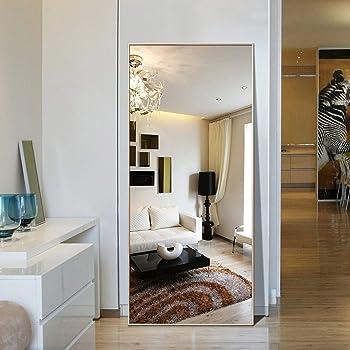 "Hans&Alice Full Length Mirror Large Floor Full Mirror (Gold,65""x24"")"