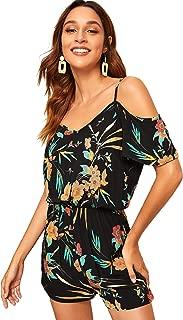 SheIn Women's Boho V Neck Cold Shoulder Floral Print Spaghetti Strap Romper Jumpsuit