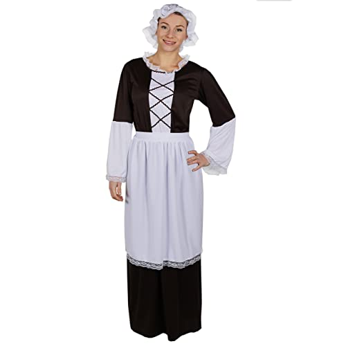 LADIES TUDOR MAID COSTUME INCLUDING BROWN LONG DRESS WITH WHITE DETAILING  ON SLEEVE + WHITE APRON