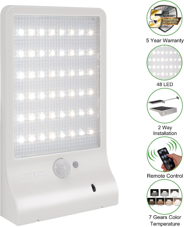 Solarlichter im Freien Supershu 48 LED im Freienwand-Bewegungs-Sensor-Lichter mit Fernprüfer Drahtlose wasserdichte Sicherheits-Lichter für Wand-Plattform-Zaun-Fahrstrae-Yard-Garage