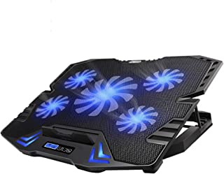 TopMate C5 10-15.6 inch Gaming Laptop Cooler Cooling Pad, 5 Quiet Fans and LCD Screen, 5 Heights Adjustment, 2 USB Port an...