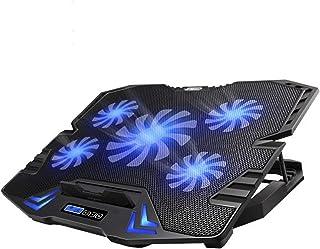 TopMate C5 10-15,6 Pouces Pad de Refroidissement pour Ordinateur Portable de Jeu, 5 Ventilateurs Silencieux et écran LCD, ...
