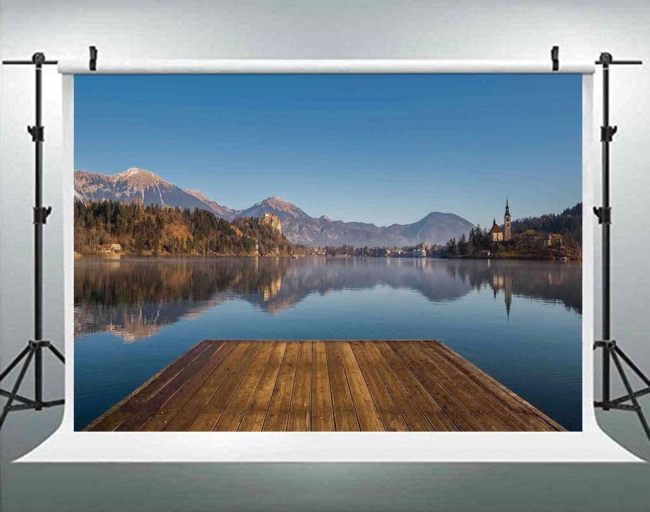 ALUONI 5x3ft Art,Scenery of A Tranquil Sunset Over The Lake and A Long Deck in Photography Backdrop Photo Backdrops Portrait Background Studio Props AM003981