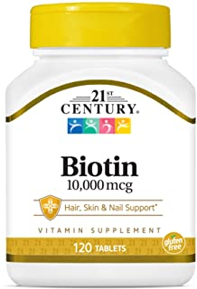 21st Century Biotin Tablets, 10,000 mcg, Unflavored 120 Count