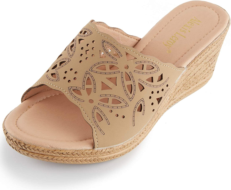 Alexis Leroy Women's Comfort Cut-Out Vamp Open Toe Wedge Slide Sandals