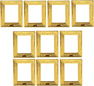 Fityle 1/12 Scale Gold Photo Frame Rahmen Dollhouse Miniature Rooms Wall Decoration, Pack of 10