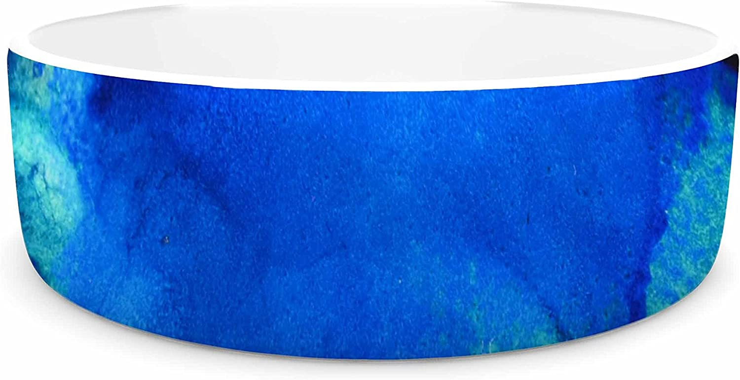 KESS InHouse Claire Day Mountain Stream bluee Teal Abstract Painting Pet Bowl, 7  Diameter