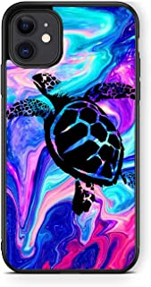 XUNQIAN Compatible for iPhone 12 Pro Max 6.7 inch Case, Cute Swimming Sea Turtle Art Thin Soft Black TPU+Tempered Mirror C...