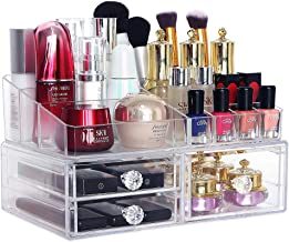 COOLBEAR Acrylic Makeup Organizer Countertop with 1 Tray 3 Box Drawers for Vanity Bathroom Clear