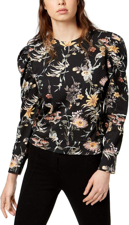 Bar III Womens Puffed Sleeve Sweatshirt Black XS
