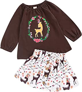 HAPPYMA 2PCS Toddler Kids Baby Girls Outfits Spotted Deer Print T-Shirt Long Sleeve Top + Button A-line Skirt Clothes Set