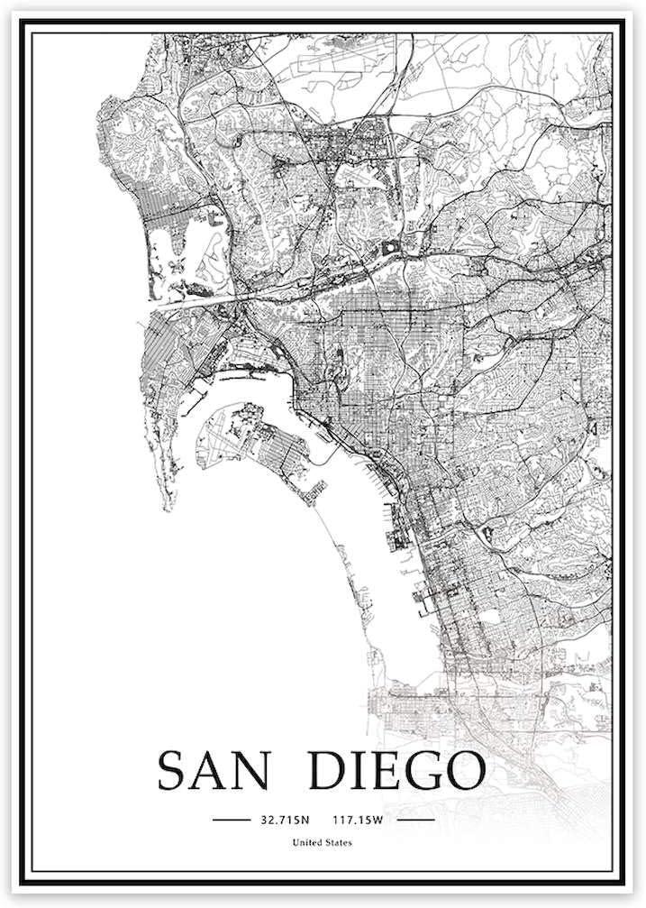 USA CA San Diego Black&White Minimalist Art 20×28 City Map Painting Poster Home Decor Gift