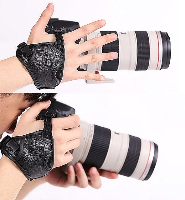 WITHLIN profesional rápido tiro PU cámara agarre banda correa de mano correa de cuero para cámara SLR DSLR(Canon Nikon Sony Pentax Olympusetc) (agarre de muñeca)