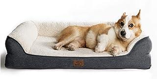 Bedsure Hundebett orthopädische für große mittlere kleine Hunde, Hundesofa mit Memory Foam, kuschelig Schlafplatz in Größe 106x81/91x68/71x68 cm, waschbar, grau