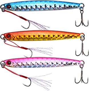 Goture Lead Vertical Jig Saltwater Jigging Lures 0.70 oz-5.29 oz Fishing Lure Artificial Bait (Pack of 3)